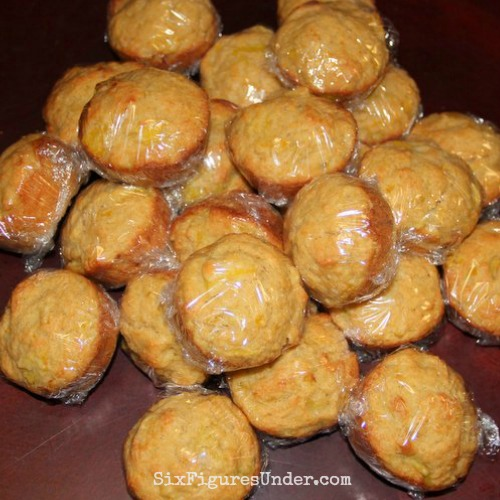 Yellow squash muffins individually packaged for lunches