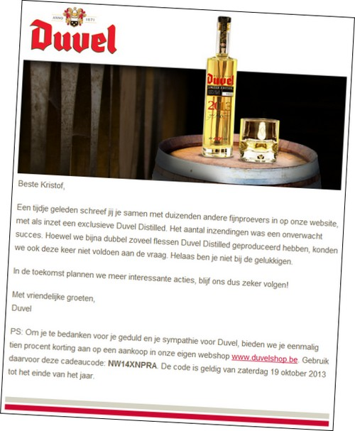 Mail van Duvel Distilled 2013