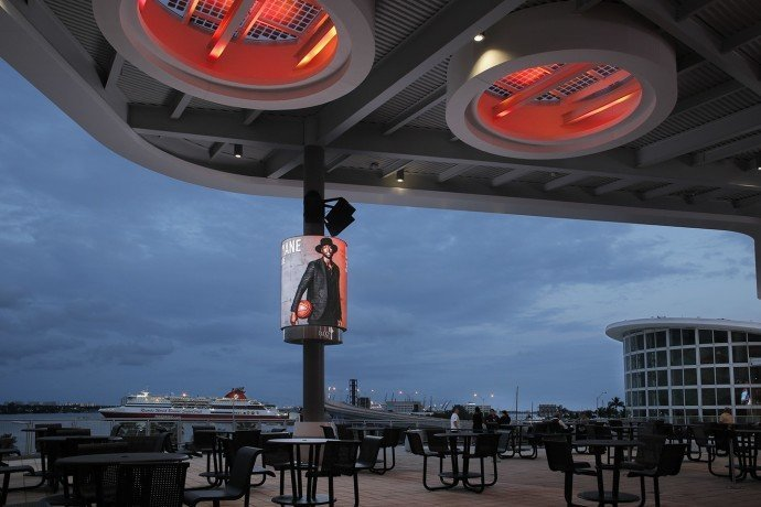 Recent curved screen installation at American Airlines Arena, Miami