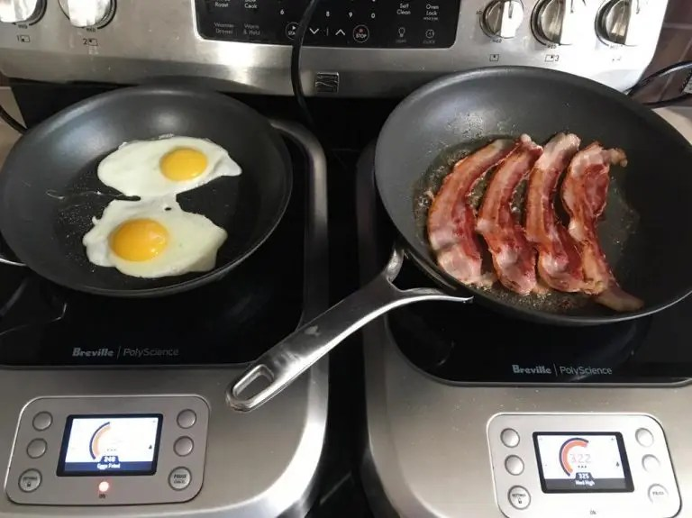 Bacon and eggs prepared on the Breville PolyScience Control Freak