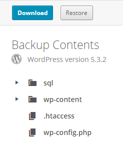 vaultpress backup contents