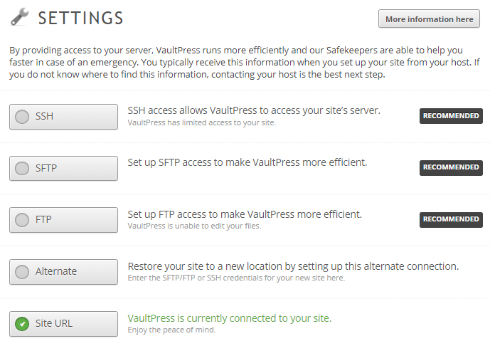 VaultPress Settings
