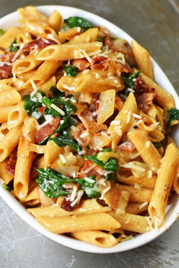 bacon-spinach-skillet-pasta