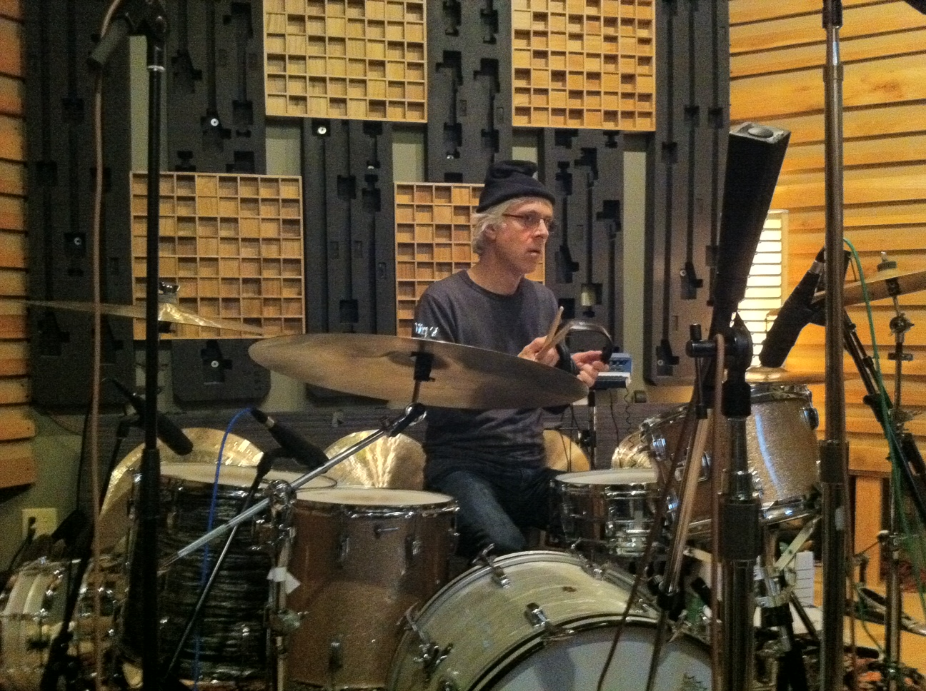 Bill Rieflin getting ready to record.