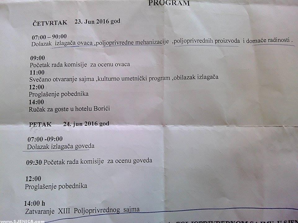 Poljoprivredni Sajam u Sjenici - raspored - Sjenica - Jun 2016