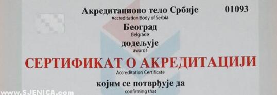 Sertifikat o akreditaciji - privredni centar Sjenica