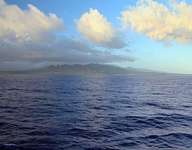 Kaua'i as seen from a boat.