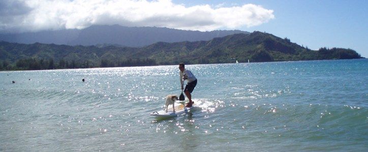 Tony LeHoven and Rocket Girl at Hanalei Bay.