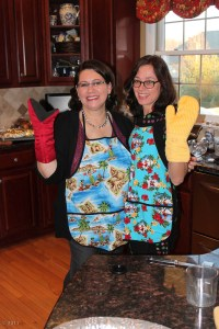 It was Thanksgiving, and we cooked it up wearing aprons from Hawaii.