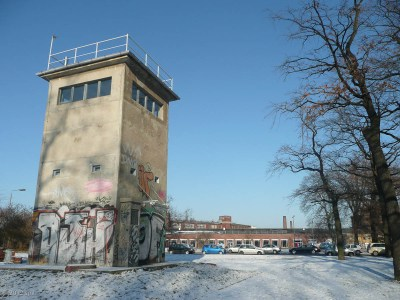 A guard tower from the era of a divided Germany remains in Treptower Park.