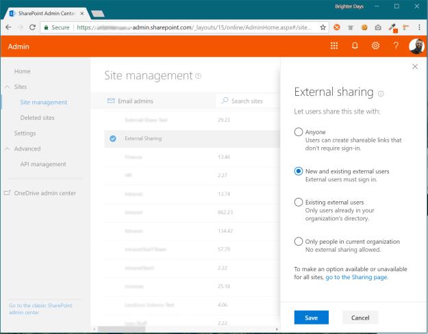 Modern SharePoint Admin: Site External Sharing