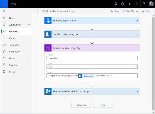 Microsoft Flow: How to embed an image in an email - showing the expression: <img data-attachment-id=
