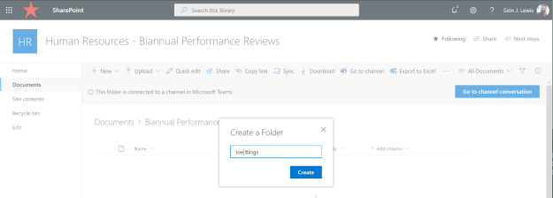 Human Resources - Biannual Performance Reviews  Qak link  er is a in Microsoft teams  Site  Documents > Biannual Performanc  Create a Folder