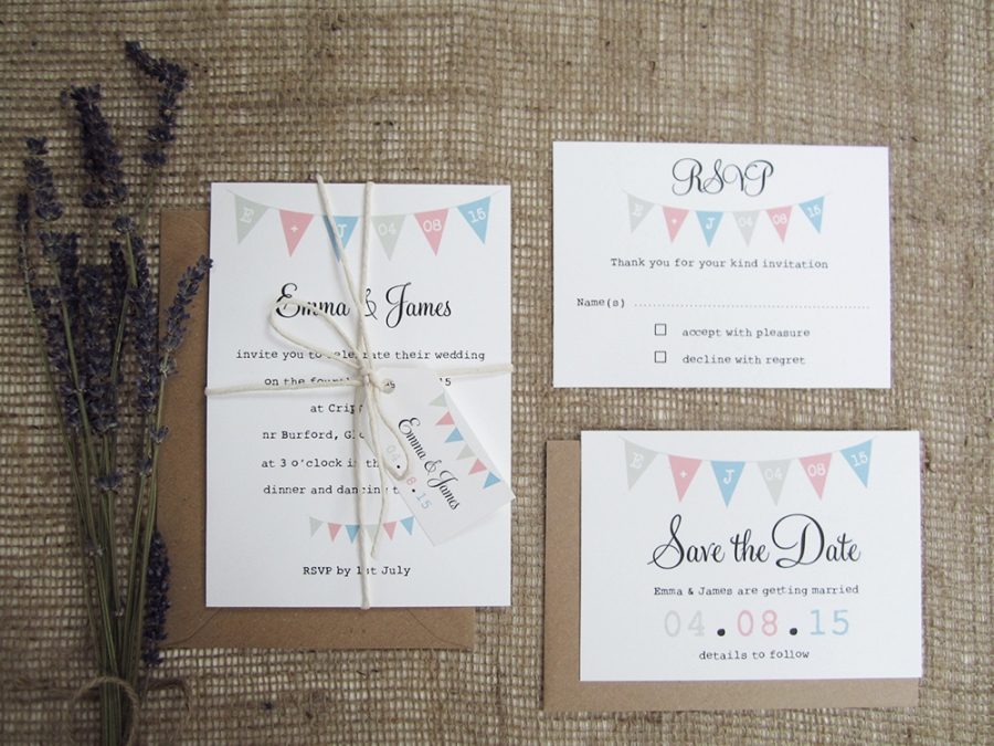 Village Fete Bunting Wedding Stationery Suite SJ