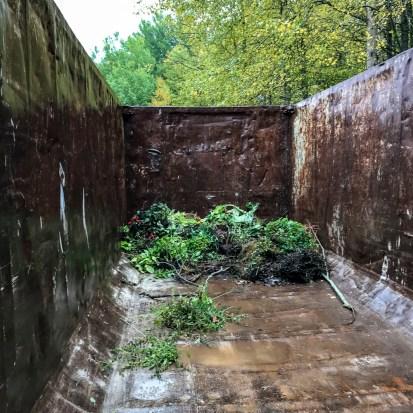 Container för trädgårdsavfall.