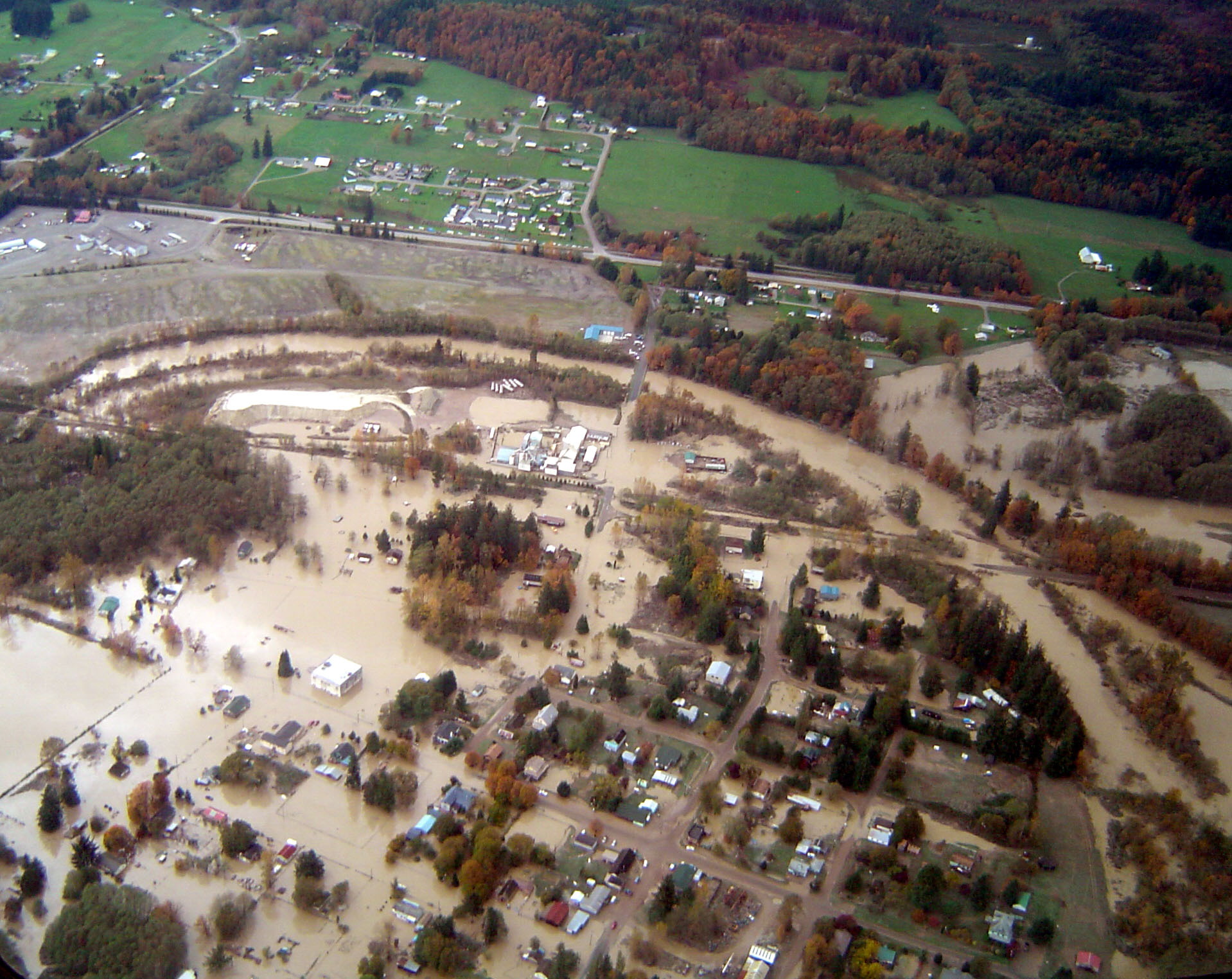 Flooding along the Skagit River in Washington State