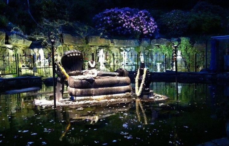 The Sri Ranganatha Temple at night - a very beautiful lake temple with a