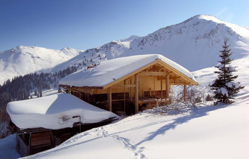 An alpine temple in deep snow, high in the Swiss Alps