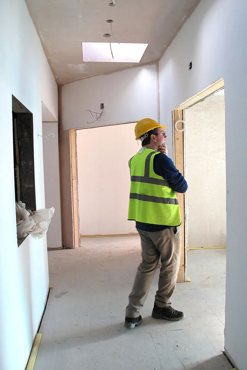 Bright airy corridor at the building site of our new hospice