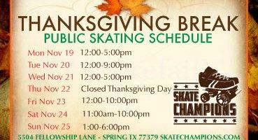 Thanksgiving Break Skating Schedule