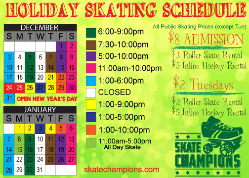 December/January Holiday Skating Schedule