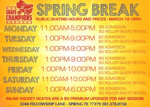 Spring Break 2018 Skating Schedule