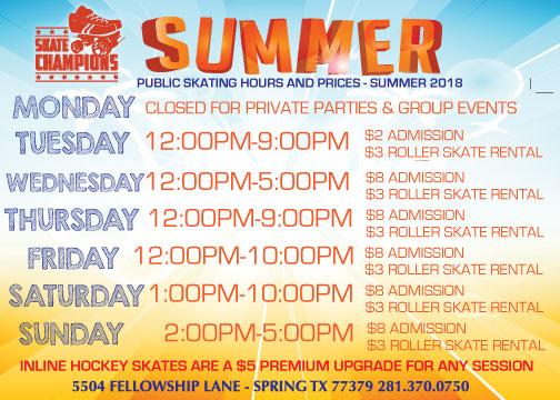 Summer Skating Schedule