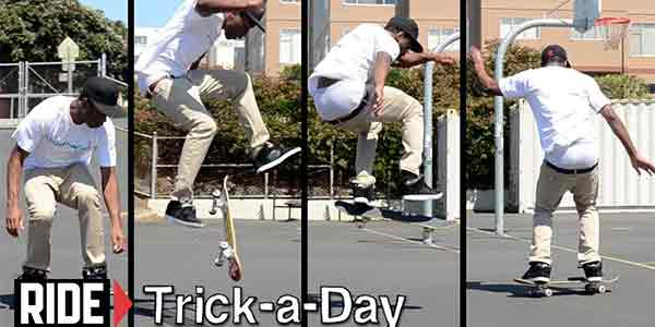 This trick also involves a 180-degree turn but your body and skateboard move in a backward motion.