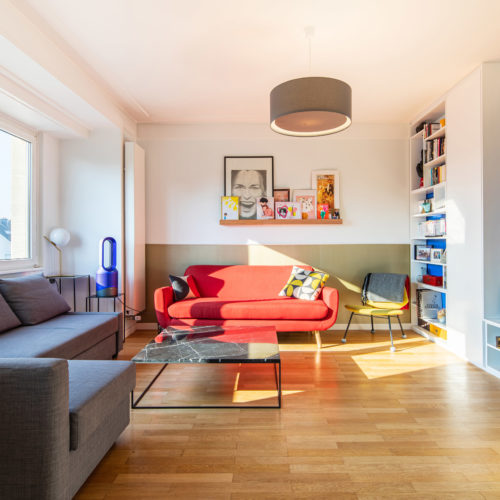 Réalisation du studio d'architecture et de décoration Skéa Designer. Inspiration Mondrian.