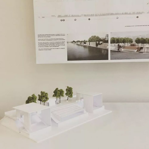 Maquette et principe d'un projet d'architecture d'intérieur à l'école Camondo de Paris.