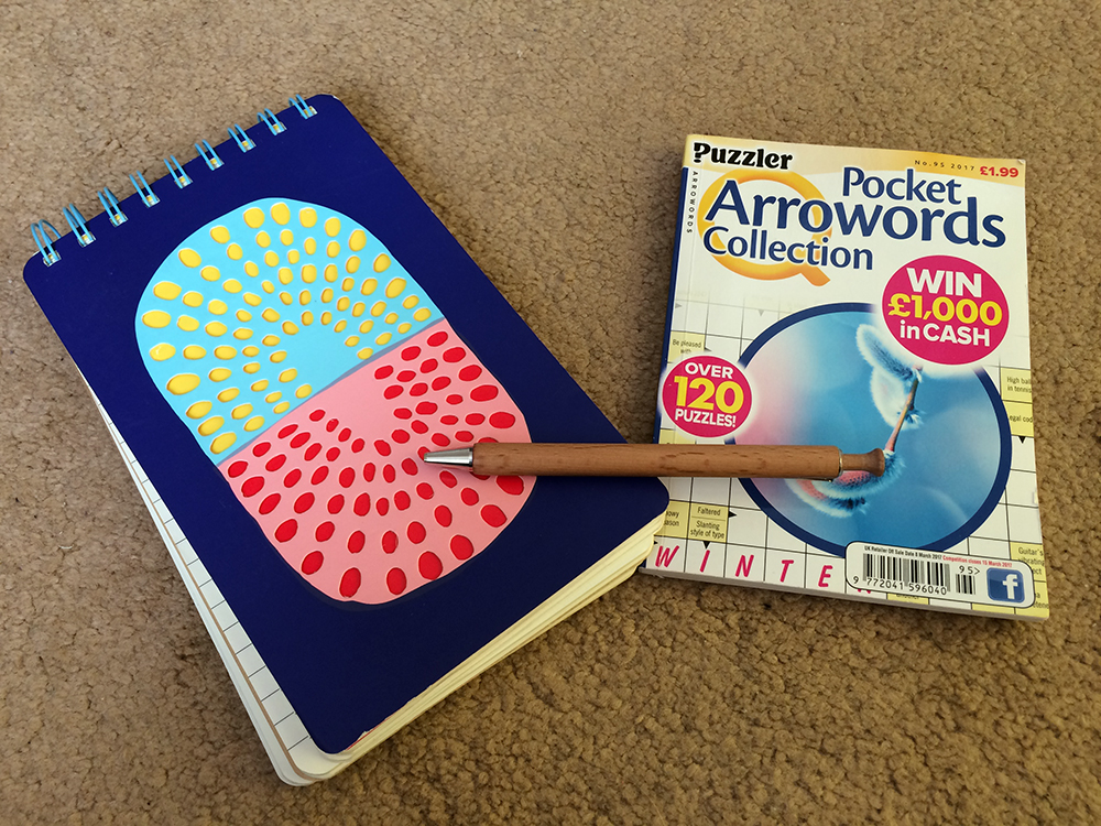 Notebook, pen and puzzle book long haul carry on luggage