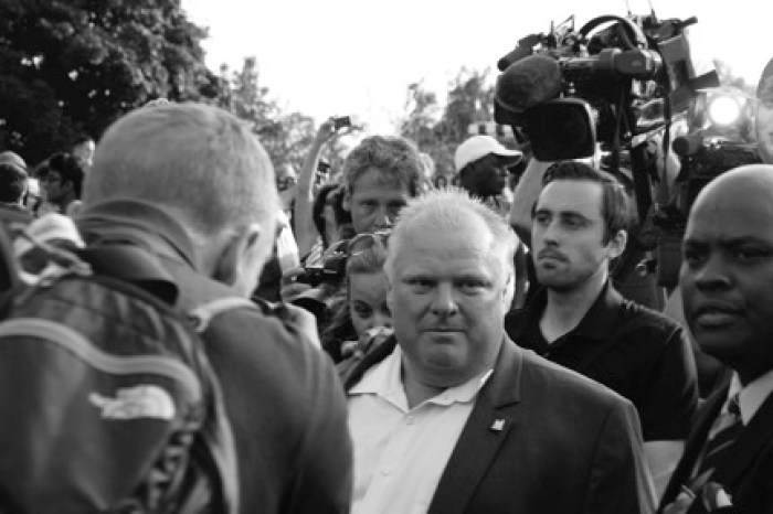 Toronto Mayor Rob Ford in the middle of a scrum in 2014.