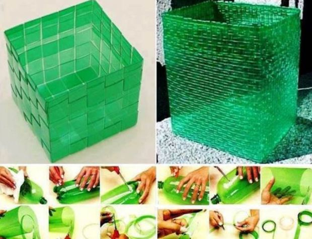 Weaving Basket plastic bottles