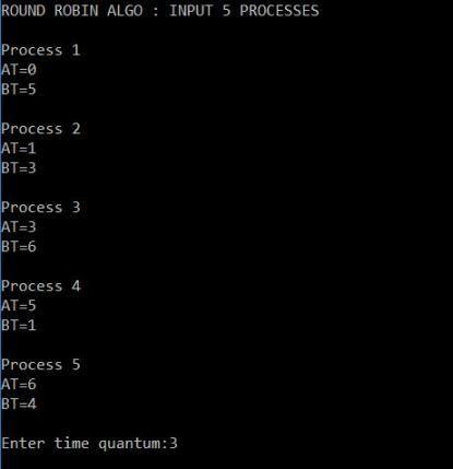 round robin scheduling program in c++