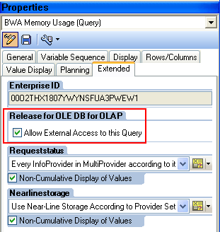 Setting the External Access flag in a BEx Query