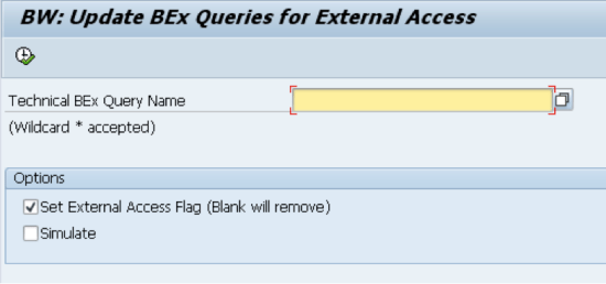Main screen - Update BEx queries for External Access