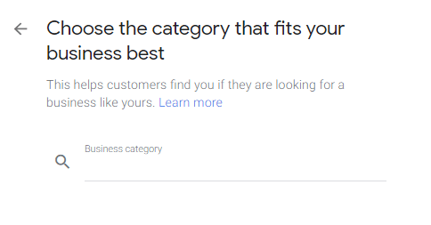 Google Business category
