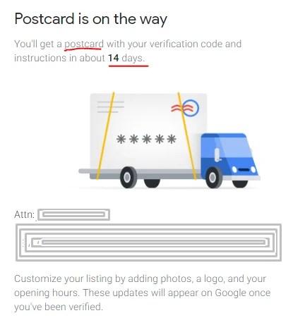 verify Google Business listing by Postcard