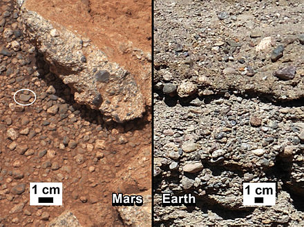 "Rock outcrop on Mars – compared with a terrestrial fluvial conglomerate – suggesting water ""vigorously"" flowing in a stream"