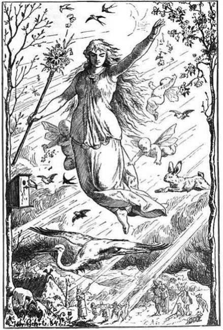 Eostre Ostara (1884) by Johannes Gehrts. The goddess flies through the heavens surrounded by Roman-inspired putti, beams of light, and animals.