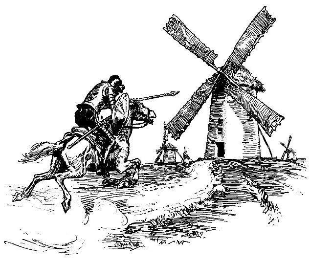 Don Quixote Trump attacks windmills
