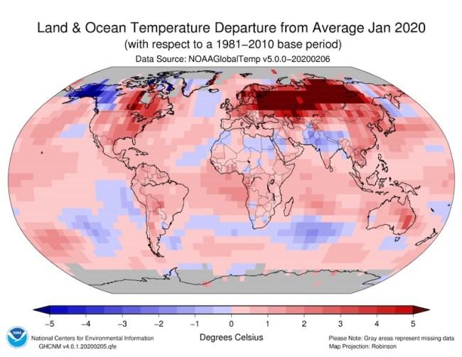 January 2020 temperature