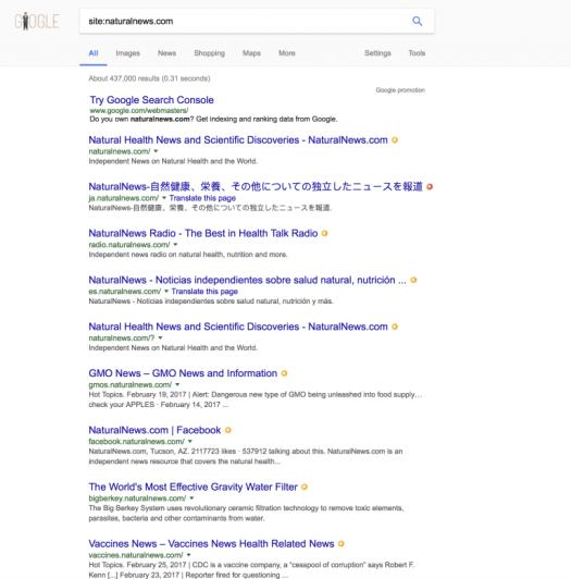 Google indexes Natural News