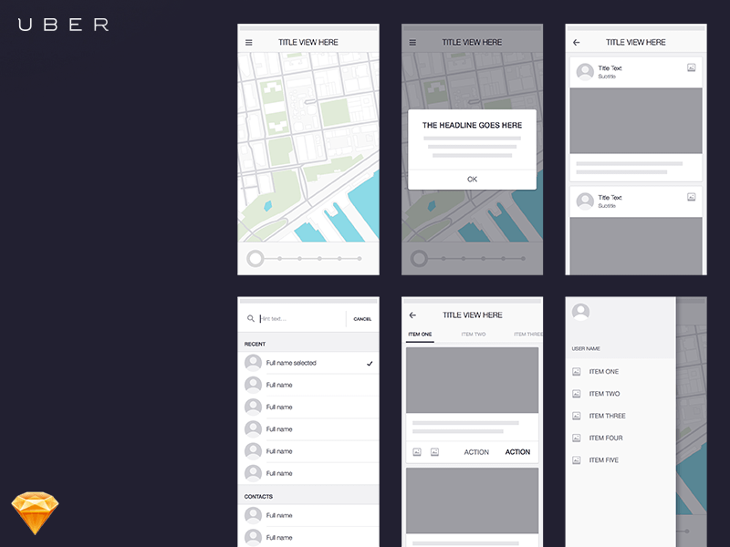 Uber Wireframe Kit Sketch freebie   Download free resource for     Uber Wireframe Kit