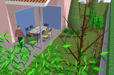 Picture of a SketchUp 3D model of a garden project