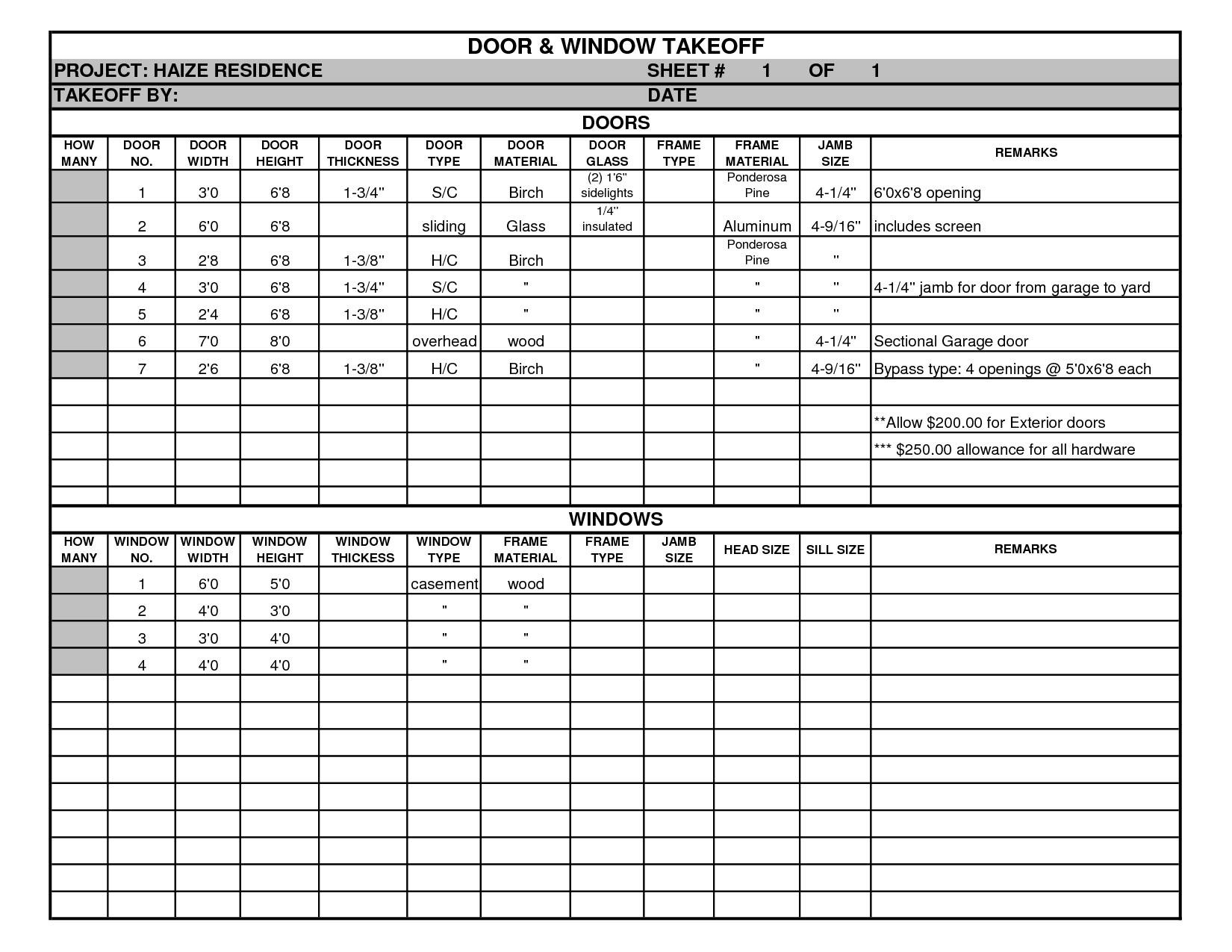 Door And Window Takeoff Sheet