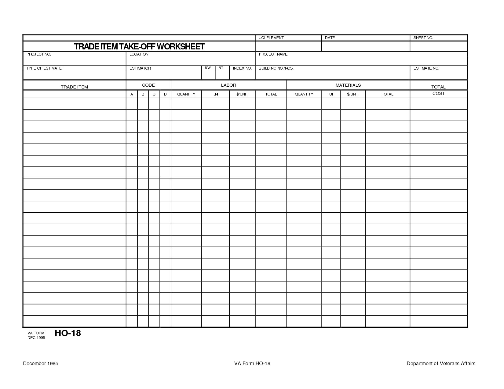 Trade Item Construction Takeoff Worksheet