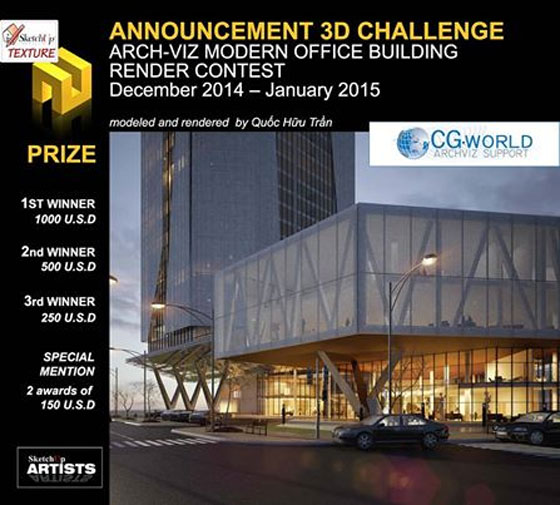 New 3d challenge Arch-Viz Modern Office Building  Render Contest by Sketchup Texture