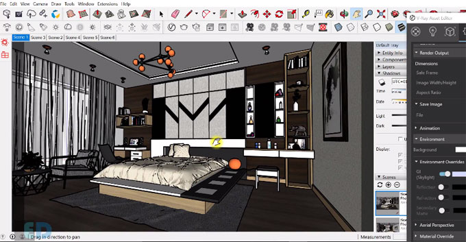 How to render a bedroom with vray 3.4 for sketchup 2017