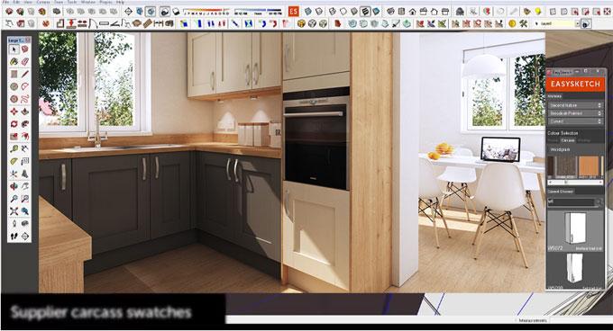 Make a professional kitchen design with easysketchup kitchen design plugin